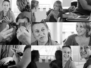 A series of nine pictures in a block, all of Jo Verrent and Sarah Pickthall in conversation (black and white)