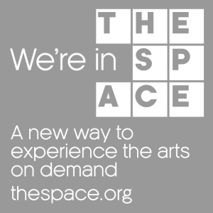 The Space logo - text reads - we're in the space - a new way to experience the arts on deman thespace.org