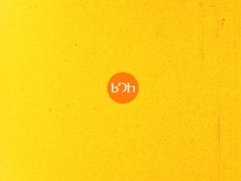 a yellow background with an orange circle in the centre. In this are the letters BDH