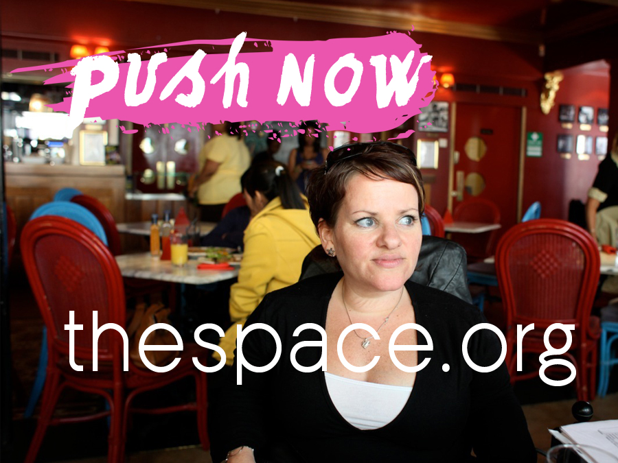 Caroline sits in a bar - she looks off to the right in thought, text reads push now, thespace.org