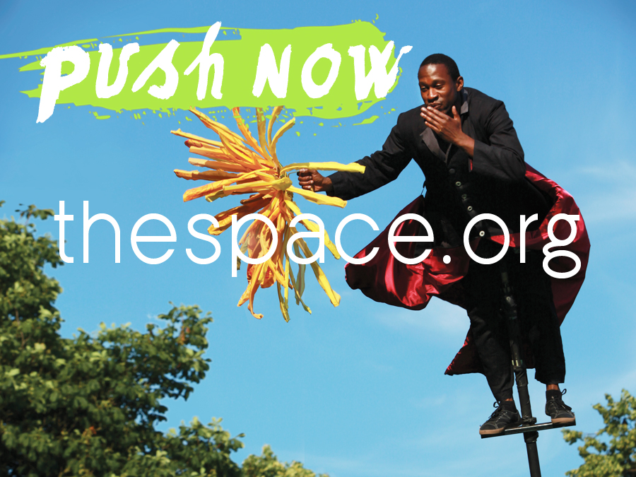 A person on a sway pole against a blue sky - text reads Push now - the space.org