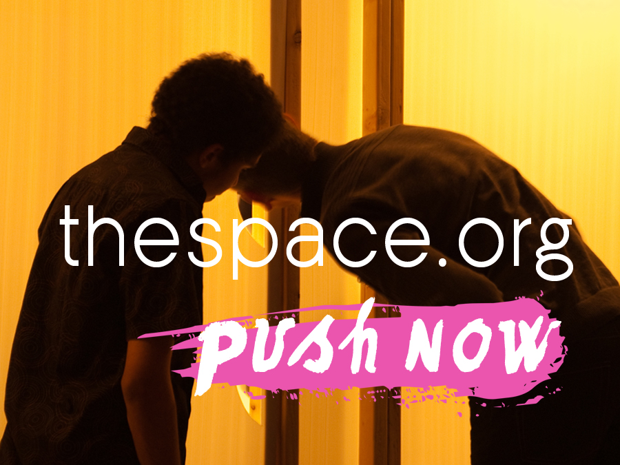 Two people lean on each other, head to head, silhouetted against an orange back ground - text reads the space.org push now