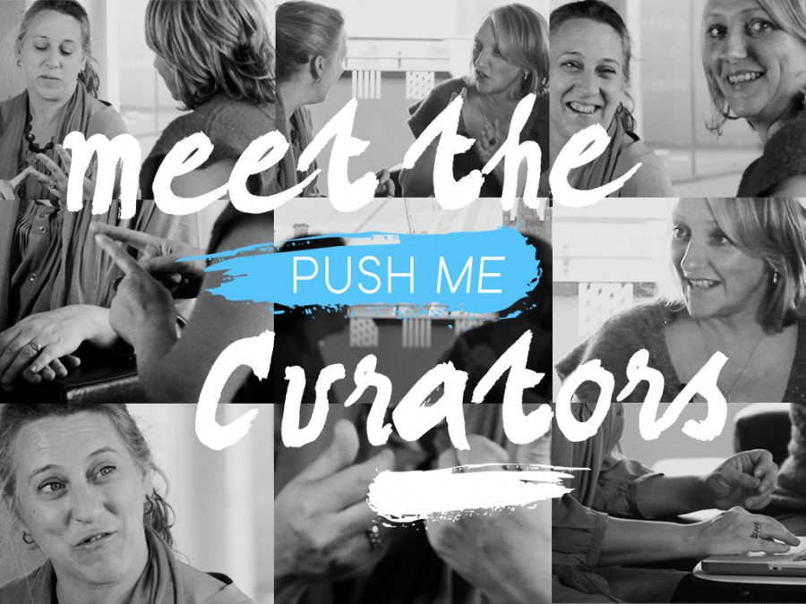 A block of nine images of Jo Verrent and Sarah Pickthall in conversation; text reads meet the push me curators