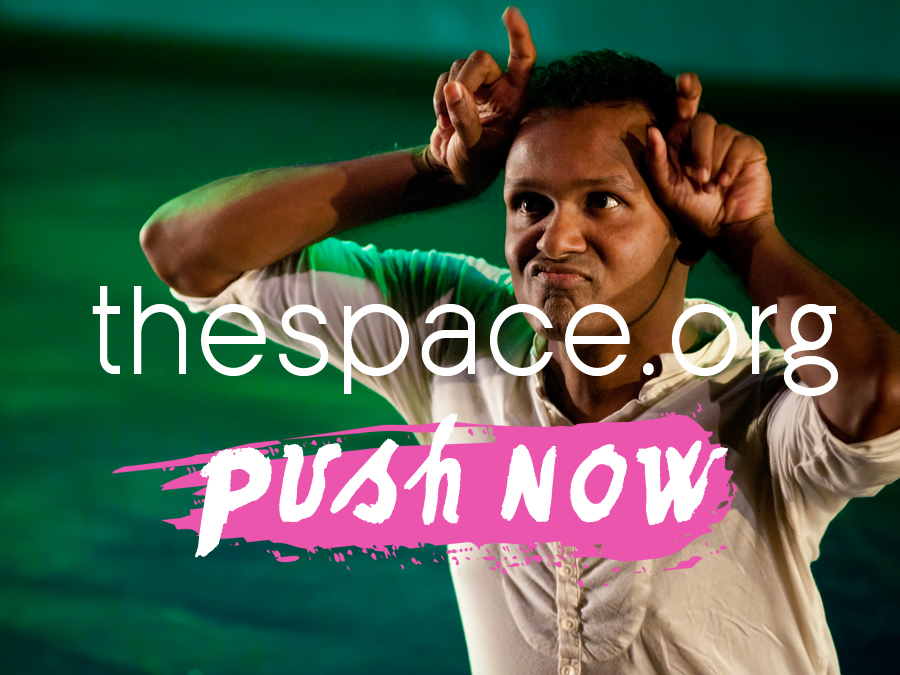 Ramesh, his fingers up by his head like snail horns, with text that reads the space.org push now