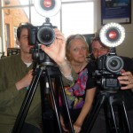 Sarah inbetween Vince John and John Durrant - the film team for PUSH ME and their cameras