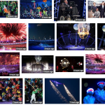 A screen grab of many different images from the opening ceremony - showing fireworks, umbrellas, excitement, stephen Hawkings and the stadium lit up.
