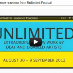 screen grab of the unlimited audience reaction film shot by ACE - black text on a blue and yellow background