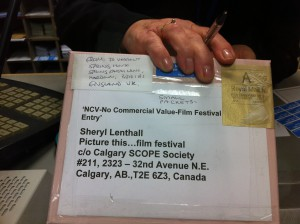 a box, sealed up and addressed to The Picture This Film Festival in Canada