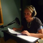 Sarah Pickthall in the soundbooth at Wounded Cow