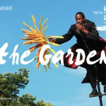 A photo of an actor on s sway pole holding a flower, text reads the garden, graeae, push me.