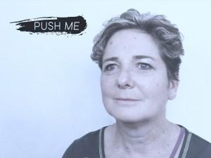 A head and shoulder shot of Rachel Gadsden, text reads push me.
