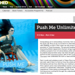 A screen shot of the Watershed site featuring Push Me, the image is Sue Austin in her underwater wheelchair