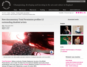 screen grab of arts council england's case study page mentioning total permission