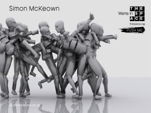 A model of a kickboxer with short arms caught whilst kicking - we see lots of versions of him as he makes a move. Text reads push me, simon mckweown, motion disabled unlimited.